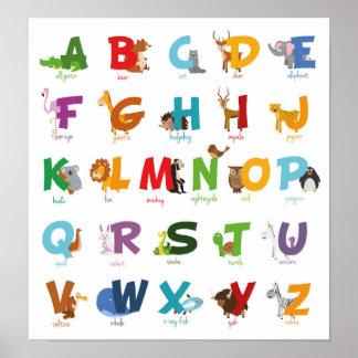 Bunte illustrierte Tieralphabet-Buchstaben Poster
