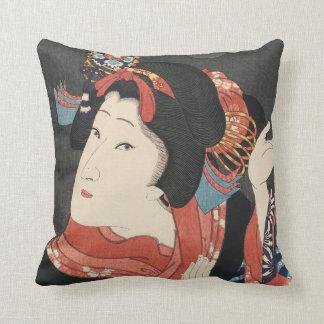 Bunte japanische Frauen-Vintage Malerei Kissen