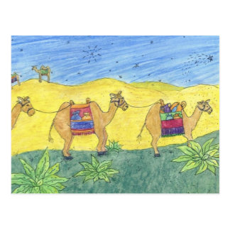 Bunte Kamele Postkarte