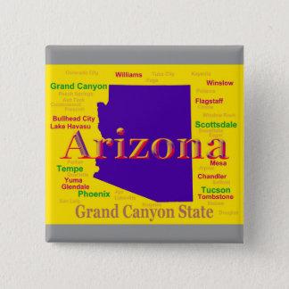 Bunte Karte Arizonas, Grand- CanyonStaat Quadratischer Button 5,1 Cm