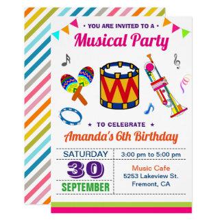 Bunte Kindergeburtstag-Einladung des Musik-Party-| Karte