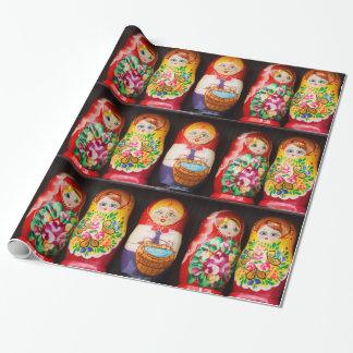 Bunte Matryoshka Puppen Geschenkpapier