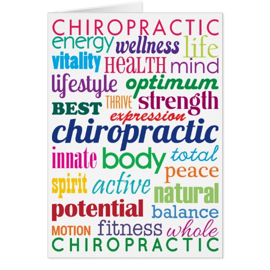Bunte motivierend Wort-Collagen-Chiropraktik Mitteilungskarte