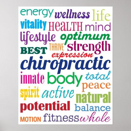 Bunte motivierend Wort-Collagen-Chiropraktik Poster