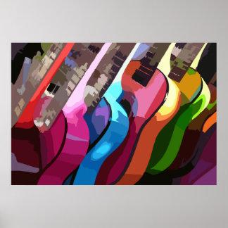 Bunte Musik-Gitarren Poster