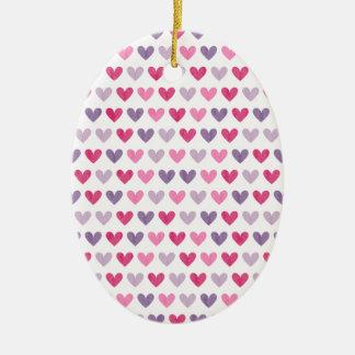 Bunte niedliche Herzen III Ovales Keramik Ornament