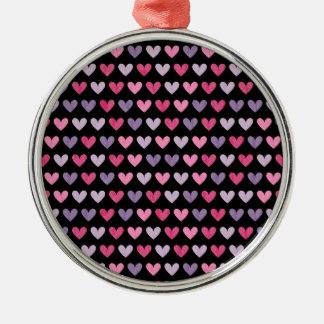 Bunte niedliche Herzen Rundes Silberfarbenes Ornament