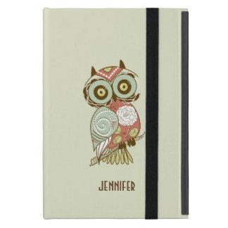 Bunte Pastellton-Retro Blumeneule iPad Mini Etui