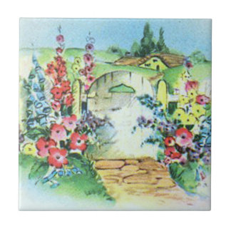 Bunte Retro Art-Vintager Land-Blumen-Garten Kleine Quadratische Fliese