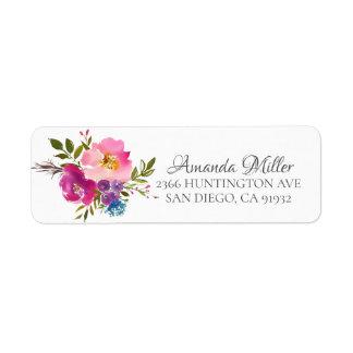 Bunte rosa u. lila BlumenRücksendeadresse