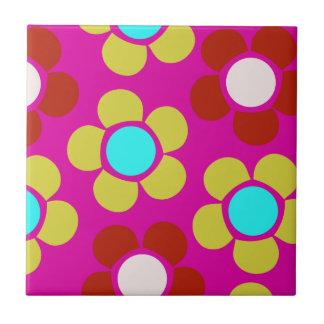 Bunte rosa und blaue Blumen Kleine Quadratische Fliese