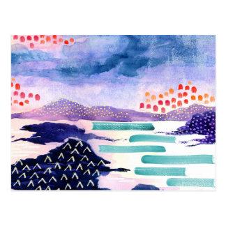 Bunte schottische Wasserfarbe-Malerei-Postkarte Postkarte