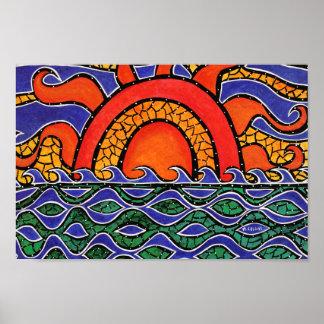 Bunte Sonnenuntergang-Strand-Wellen Poster