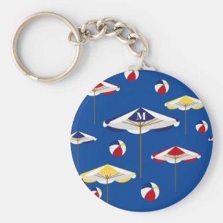 Bunte Strandschirm-und Wasserball-Gewohnheit Schlüsselanhänger