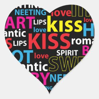 Bunte Text-Entwurfs-Liebe-Kuss-Lippen Herz-Aufkleber