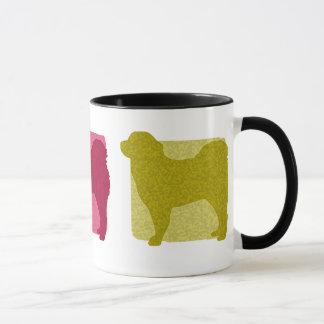 Bunte tibetanischer Mastiff-Silhouetten Tasse