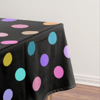 Bunte Tischdecke der schwarzen Confetti-Tupfen