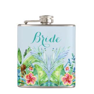 Bunte tropische Blumen-Braut Flachmann