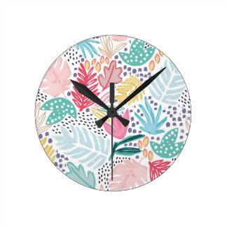 Bunte tropische Collagen-Weiß-Uhr Runde Wanduhr