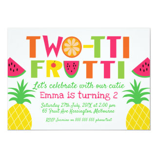 Bunte Two-tti Frutti Geburtstags-Einladung Karte