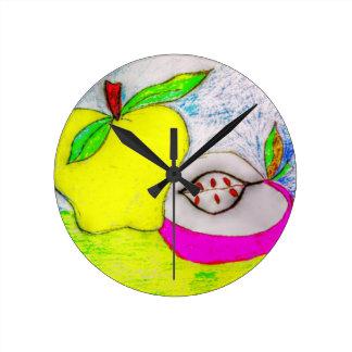 Bunte und helle Pop-Kunst Apple Runde Wanduhr