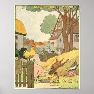 Bunte Vieh illustriert Poster