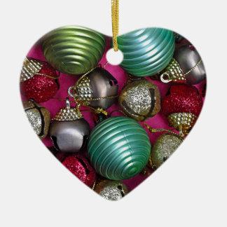 Bunte Weihnachtsverzierungen Keramik Herz-Ornament