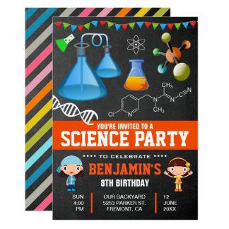 Bunte Wissenschafts-Kindergeburtstag-Party Karte