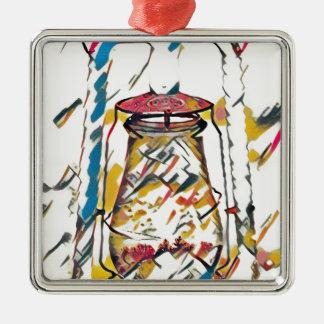 Bunte zeitgenössische künstlerische Laterne Quadratisches Silberfarbenes Ornament