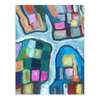 Bunte zelluläre Bucht (abstrakter Expressionismus) Postkarte