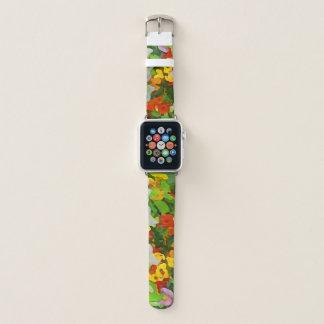 Bunter Blumen-Garten-mit Blumenabstraktes Apple Watch Armband