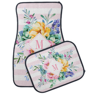 Bunter Blumenstrauß-rosa u. weiße Streifen Automatte