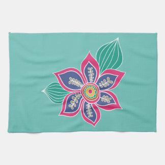 Bunter böhmischer Boho Blumen-mit Blumentürkis Handtuch
