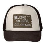 Bunter Colorado-Willkommensschildbraunhut Baseballkappen
