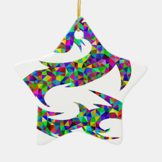 bunter Drache Keramik Stern-Ornament