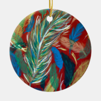 Bunter Federwirbel Keramik Ornament