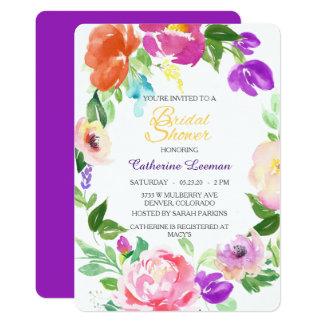 Bunter Frühlingladen Blumenwreath-Brautparty ein Karte