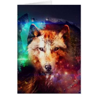 Bunter Gesichtswolf Karte