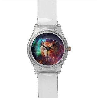 Bunter Gesichtswolf Uhr