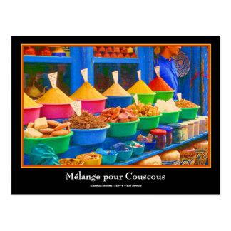 Bunter Gewürz-Markt in Marrakesch Marokko Postkarten