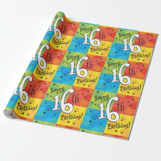 Bunter glücklicher 16. Geburtstag Geschenkpapier