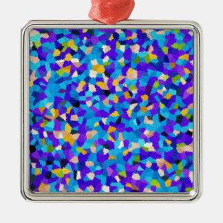 Bunter Hintergrund Quadratisches Silberfarbenes Ornament