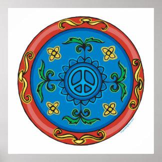 Bunter Medaillon-Entwurf und Friedenszeichen