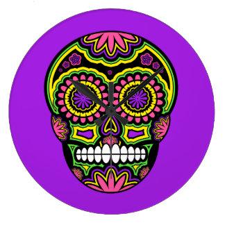 Bunter mexikanischer Zuckerschädel-Tag der Toten Große Wanduhr