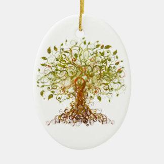 Bunter modernistischer Baum 13 Ovales Keramik Ornament