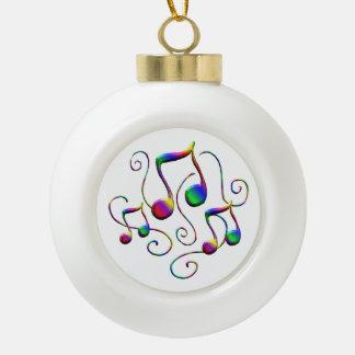 Bunter Musiknoten und Spaß-Wirbel Keramik Kugel-Ornament