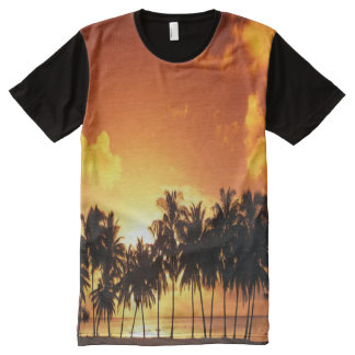 Bunter Palme-Sonnenuntergang-T - Shirt