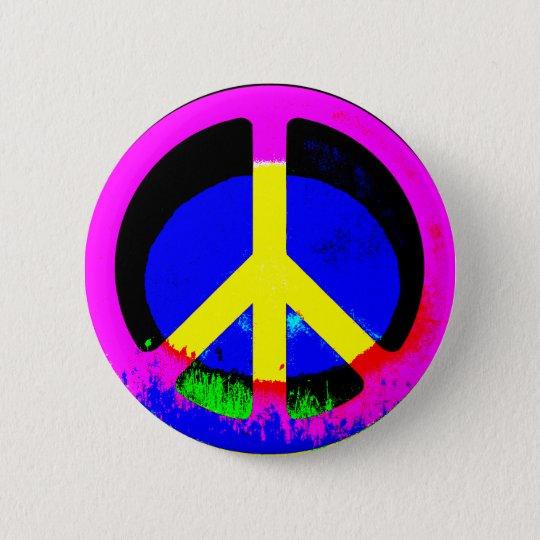 Bunter psychedelischer Friedenszeichen-runder Runder Button 5,1 Cm