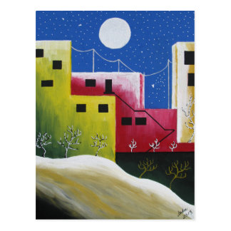 Bunter Regenbogen-städtische Oasen-Postkarte Postkarte