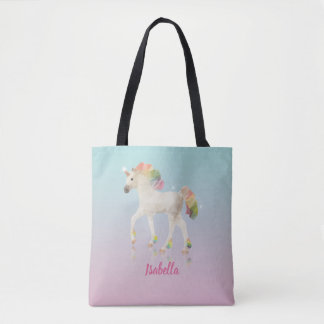 Bunter Regenbogenunicorn-Polygon-Name - Tasche